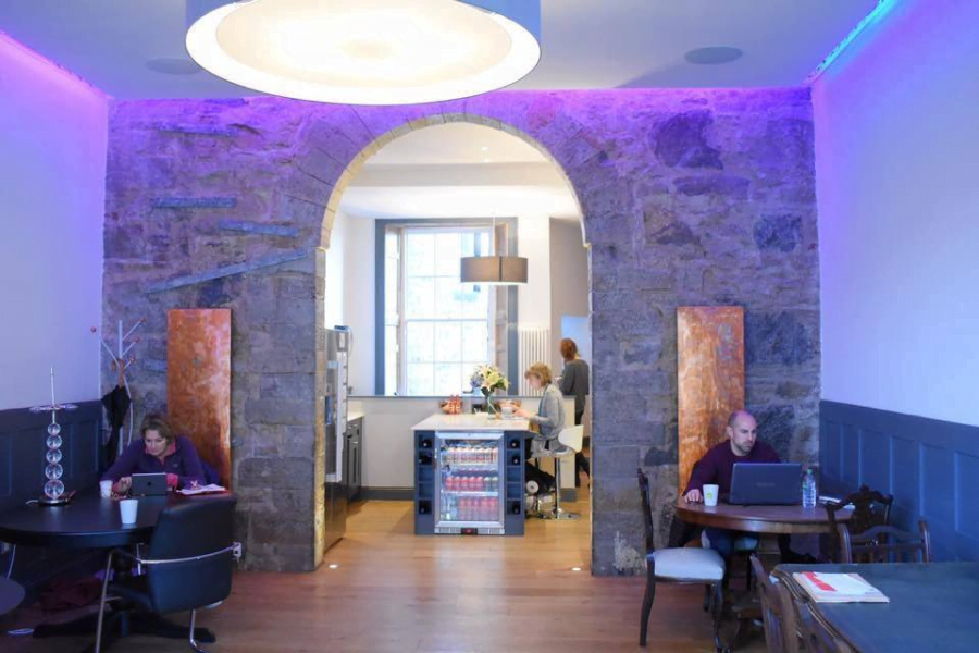 Business premises with stone wall