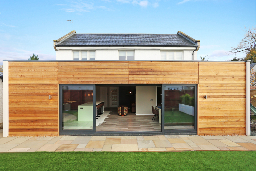 House extension with wooden exterior